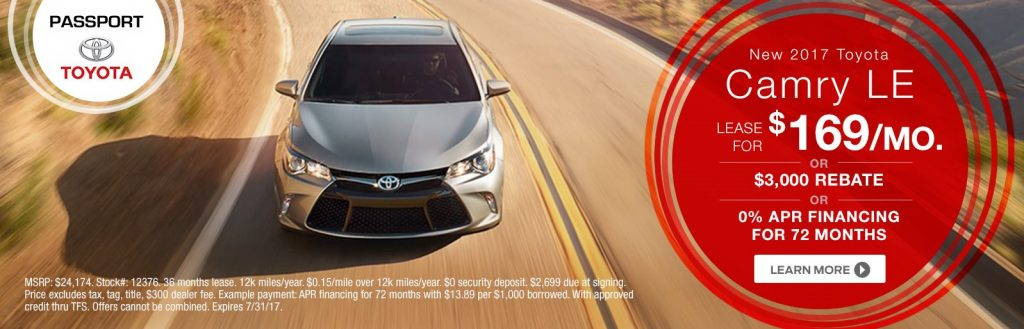 Lease A New 2017 Toyota Camry Le For 169 Per Month Or Receive 3 000 Rebate Get 0 Apr Financing 72 Months